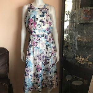 NWT Ivanka Trump White Watercolor Dress Size 10